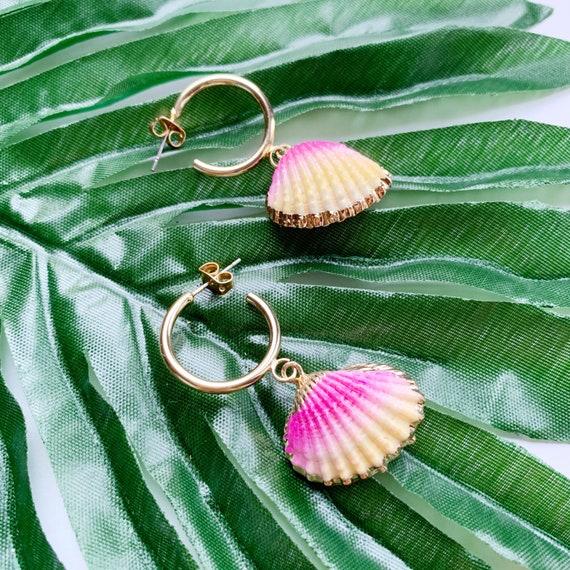 Sea shell hoop earrings with electroplated gold brass edges   Dangle shell earrings   Beach shell earrings  Blue, Purple, Pink, White