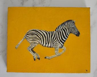 Zebra Original Oil Painting Safari Africa Animals Original Wall Art Hand Made Painting