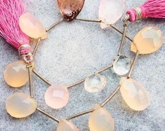 1 Strand Rose Quartz Briolettes Rose Quartz Faceted Coin Shape Beads 9mm 7.5 Inches BR3298