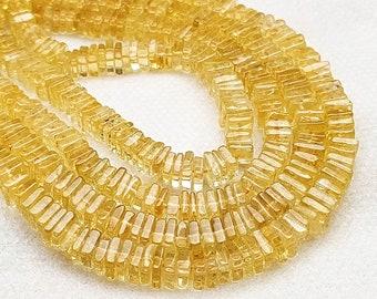 Wholesale Price AAA Gems 8 Inch Half Strand Citrine Square Heishi Beads 4mm Beads