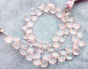 Natural Rose Quartz Faceted Heart Briolettes~~~Pink Heart Beads~~Rose Quartz Heart Beads~~ 7.5mmx7.5mm~~8 inch
