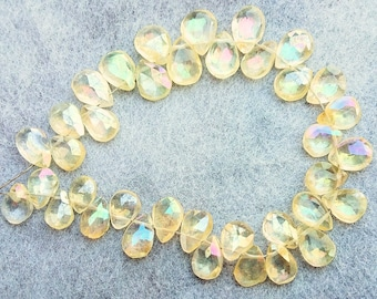 AAA Quality 8Strand.b920 8\u00d710.50-8.50\u00d711mm Natural Citrine Faceted Pear Shape Briolette Beads