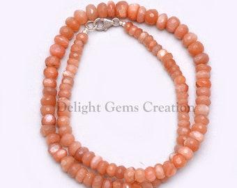 Peach Moonstone Bead Necklace
