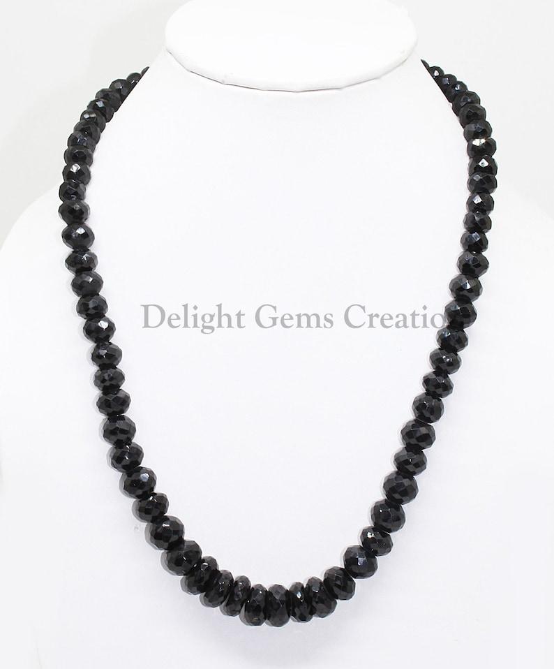Natural Black Spinel Beaded Necklace 7mm-12mm Black Spinel Faceted Rondelle Beads Necklace Sparkling Black Beads Necklace,18 Inch Necklace