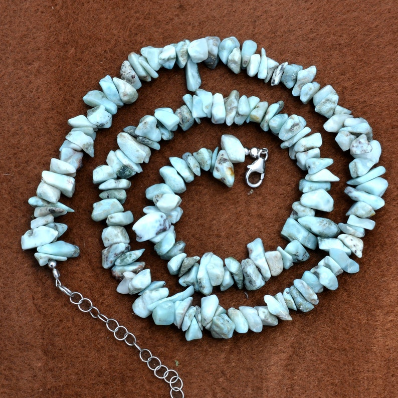Gemstone Chips Beaded Necklace 5mm-8mm Larimar Chip Bead Necklace Larimar Uncut Chips And Nuggets Beads Necklace Nuggets Jewelry For Her