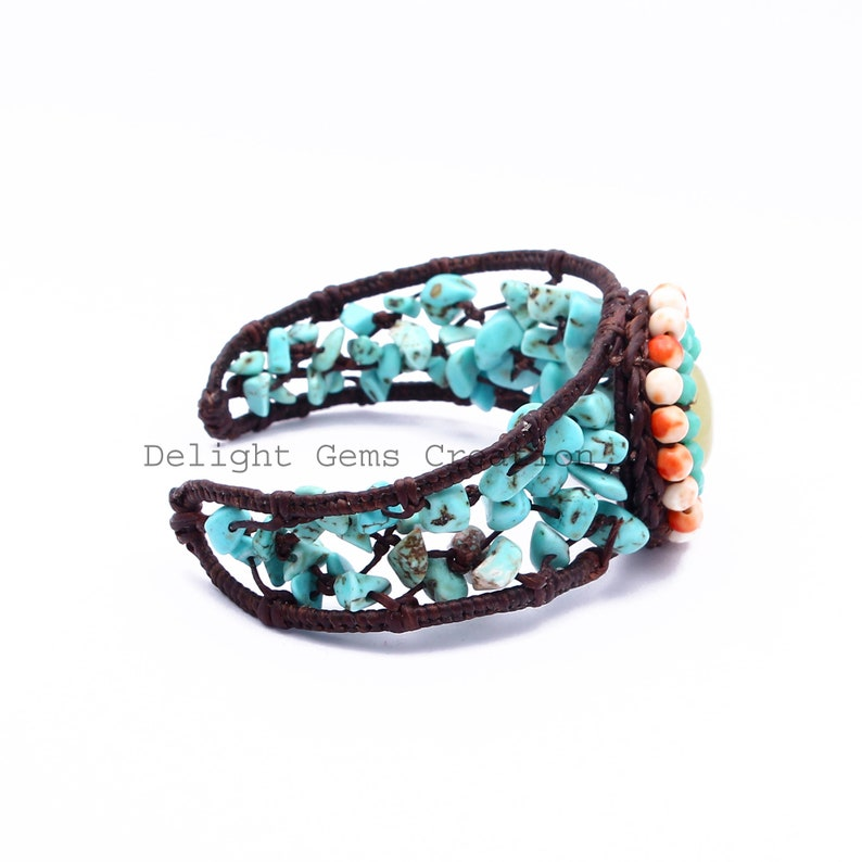 Rough Turquoise Chips Bracelet Turquoise Bracelet Stabilized Turquoise And Agate Cuff Bracelet Girlfriend Jewelry Gift To Best Friend