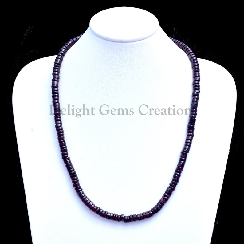 Semi Precious 18 Inches Full Strand Finished Necklace Garnet Smooth Roundel Tire Beads Necklace Garnet Jewelry 6mm Garnet Flat Tire Beads