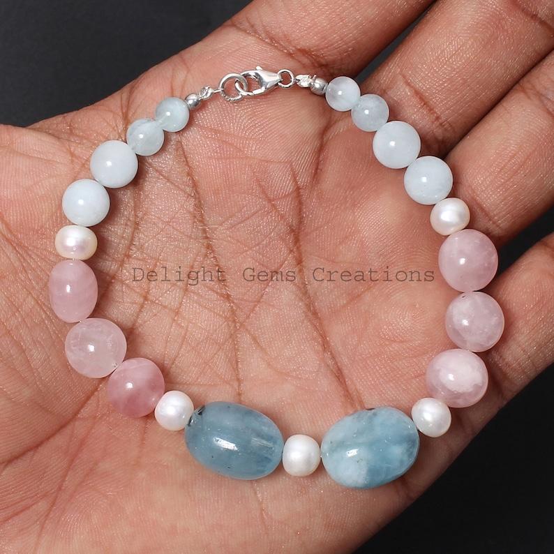 Friendship Bracelet Rose Quartz Multi Stone Bracelet Gemstone Bracelet Aquamarine Pearl Beaded Bracelet White-Blue-Pink Bead Bracelet