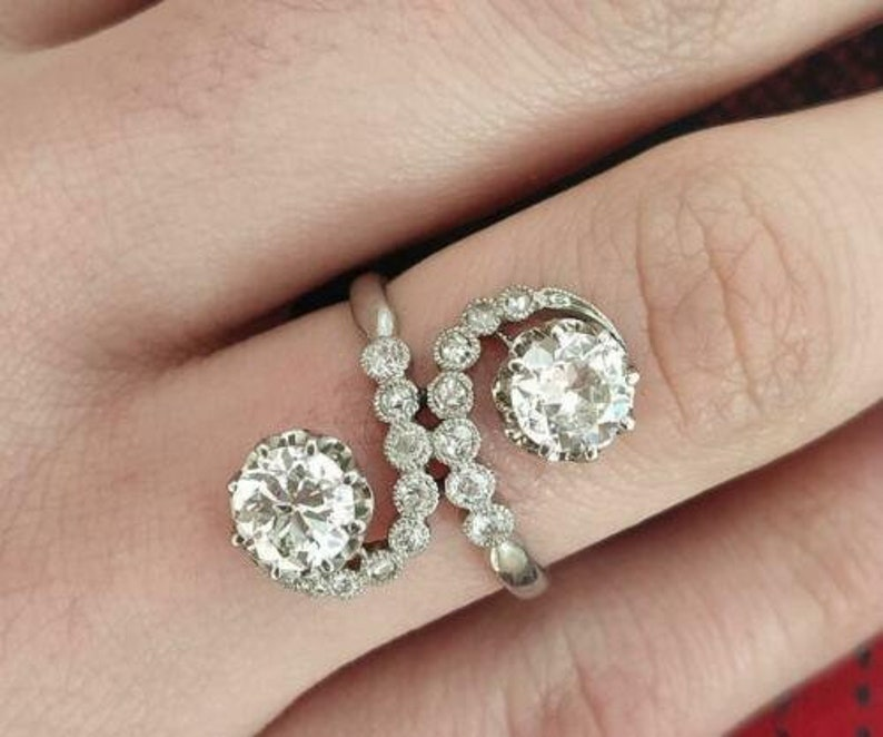 3.00 CT Round Cut CZ Diamond Antique Art Deco Engagement Ring Moissanite Vintage Antique Style Ring Antique Style Engagement Ring