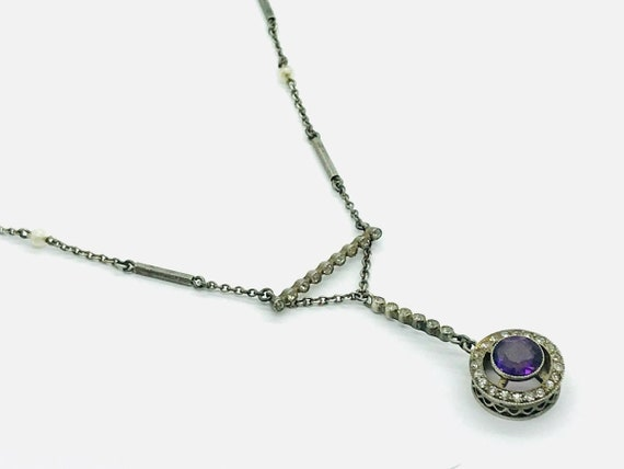 Victorian Sterling Silver Amethyst & Paste Pearl S