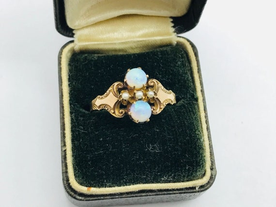 Ostby Barton Victorian 10K Gold Opal & Pearl Ring