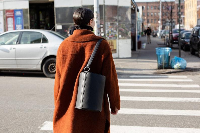 Black Sustainable Leather Bucket Bag