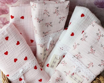 Baby swaddle in double cotton gauze, birth gift, birth trousseau
