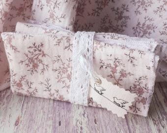 pink double gauze handkerchiefs, romantic flower handkerchiefs, zero waste handkerchiefs, set of two