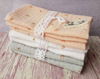 Double gauze handkerchiefs with cherry motifs, double gauze handkerchiefs in organic cotton,  made in France, zero waste , set of 2