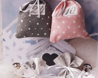 Reusable Fabric Advent Calendar, Christmas Calendar, Perpetual Advent, Eco-Friendly Christmas and Zero Waste, Fabric Bags