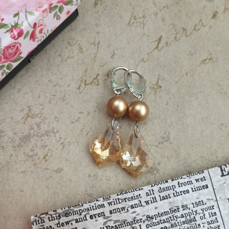 mother/'s day presentGift for her under 20 dollars Sterling silver  pearly and light gold rhinestones womany earrings gift for her