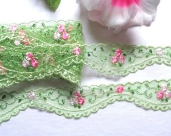 30mm, Per metre length flower edged red /& white eyelet Lace