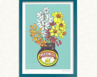 Marmite & Flowers A4 print → Signed, limited edition