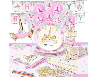 Unicorn Plates and Napkins Unicorn Party Supplies Set Perfect for Birthday Party Baby Shower