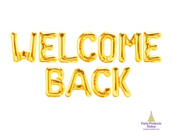 Back to School Welcome Back Gold Glitter Banner for Welcome Home Home Party Decoration Back from Hospital Sign Retiring from The Army Homecoming