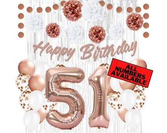 Cheers to 51 Years Party Decoration Rose Gold Halodete Glitter Happy 51st Birthday Cake Topper 51st Birthday//Anniversary Party Supplies