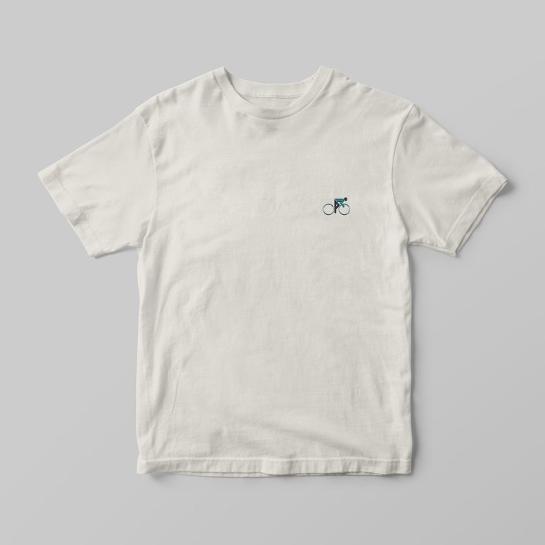 100/% Certified Organic Cotton Teal Sustainably produced and printed using water based inks. Vintage White T-Shirt Baroudeur