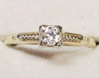 We Dig Yellow and White Gold Old Mine Diamond Ring (E)