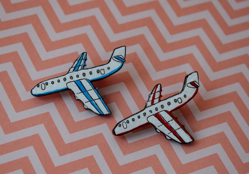 badges Traveler brooch blue airplane pin red airplane pin tourist Plane brooch wooden