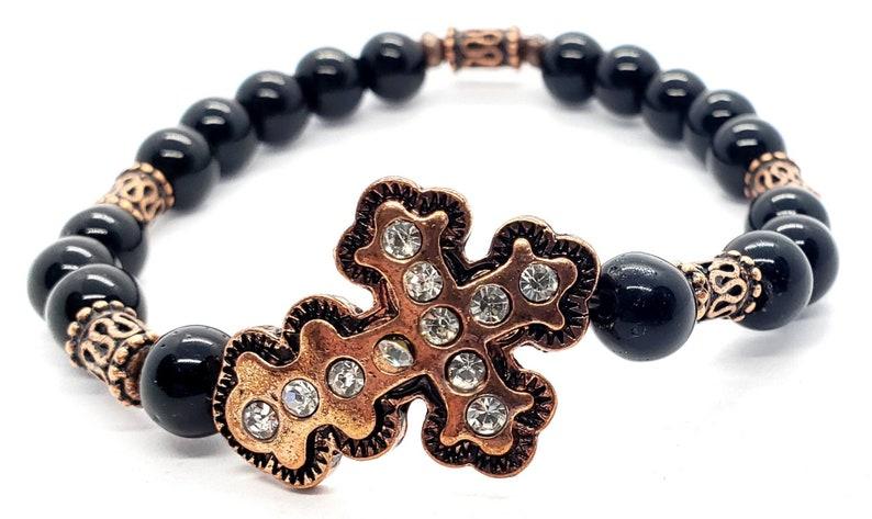 Gemstone Bracelet Copper Bracelet Birthday Bracelet Women/'s Black Jasper /& Copper Cross  Beaded Bracelet Stretch Bracelet Gift Bracelet