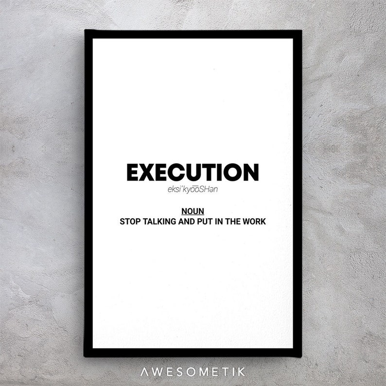 BW Execution Noun Quote Motivational Canvas  Special Design Canvas Wall Art OfficeMotivational Collection for Gym /&Home Decor#32
