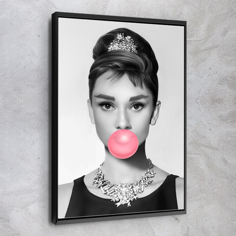 Audrey Hepburn Pink Bubble Gum Black and White Ready To Hang Canvas Print Art Home D\u00e9cor Made In USA