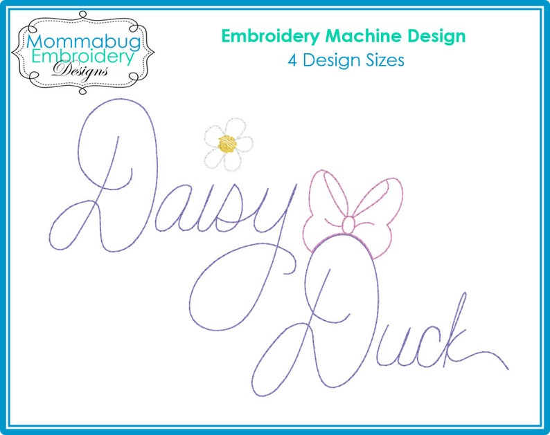 Donald Duck and Daisy Duck Autograph Signatures DIGITAL Embroidery Machine Design File
