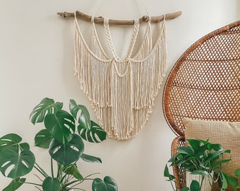 Macrame wall hanging - Driftwood macrame wall hanging - Wall decor - Wall art - Boho style decor - Neutral boho decor - Fiber art