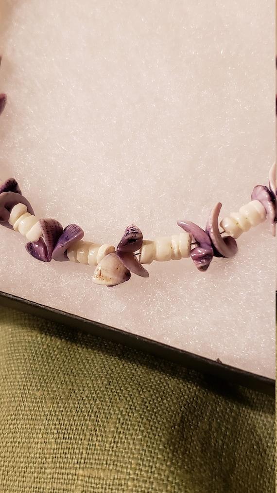 Purple White Chip Shell Necklace*Boho Purple Chip Shell Necklace*Chip Shell Puka Vintage Choker*Retro Chip Shell Choker*Lilac Shell Choker
