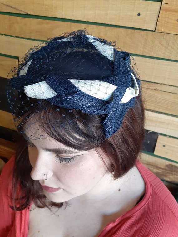 Vintage Blue and White Mini Hat with Blue netting