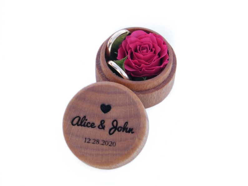 Personalized wedding ring box Wooden ring holder Ring bearer box for wedding ceremony