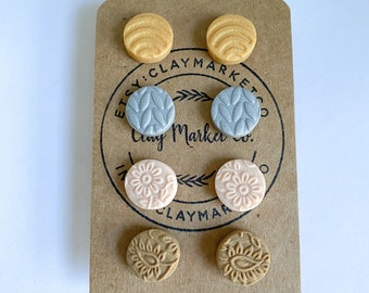 sage Polymer Clay Earrings MINI STUD PACK  white blush