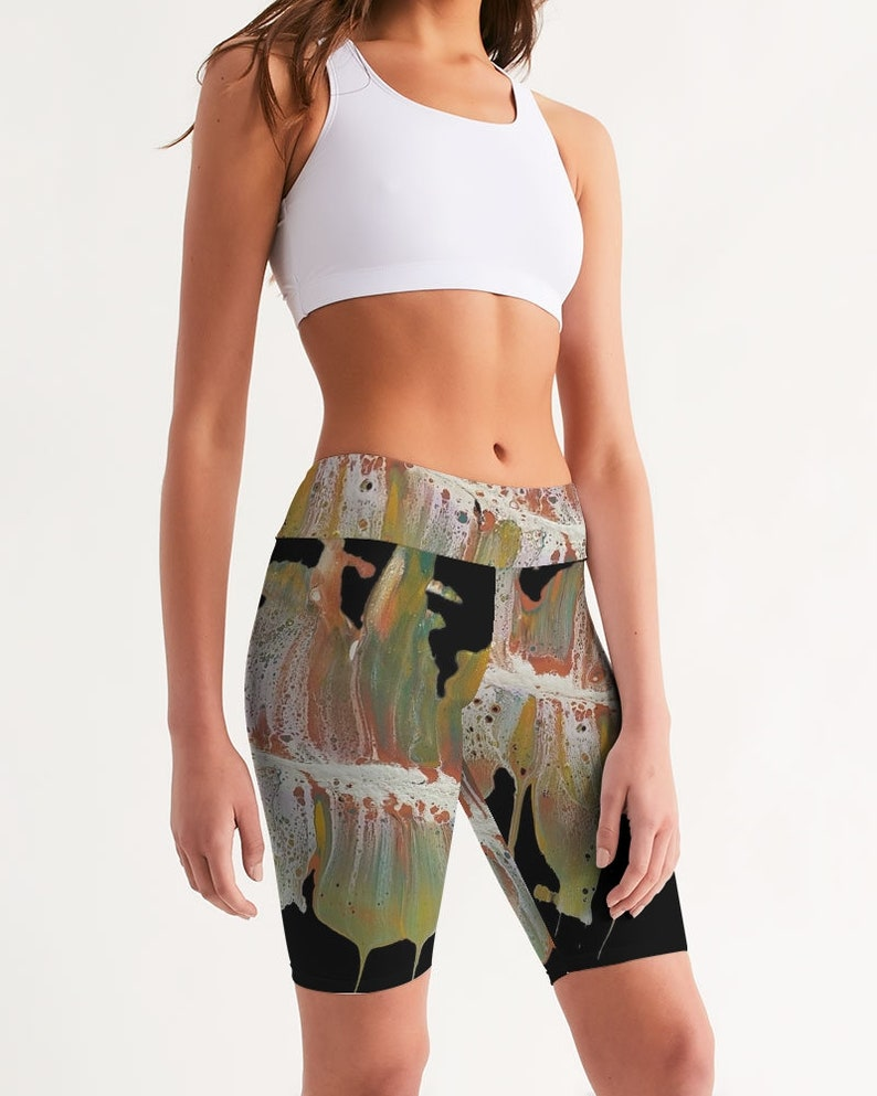 Mid-Rise Bike Shorts Abstract Graphic Fall Colors
