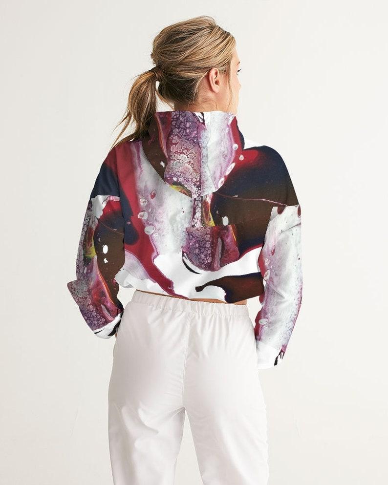 Custom Women/'s Cropped Windbreaker Abstract Graphic Design