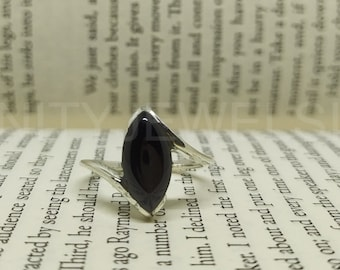 Solid 925 Sterling Silver Marquise Black Onyx Stone Handmade Ring KGJ-R-1047