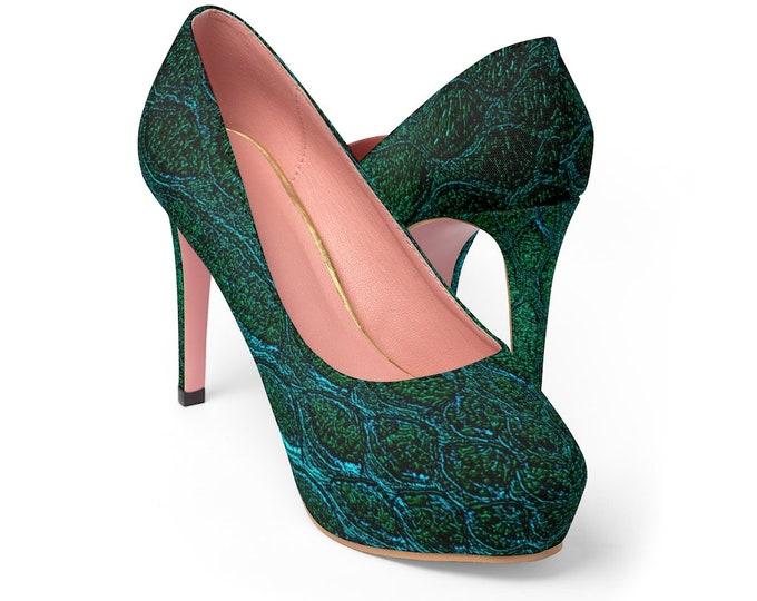 Women's Platform Heels Emerald Green Snake Skin