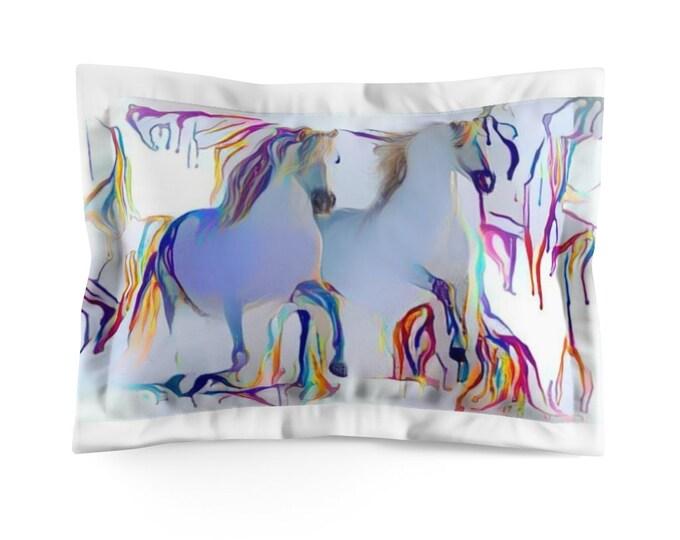 Microfiber Pillow Sham Rainbow Drip White Horses