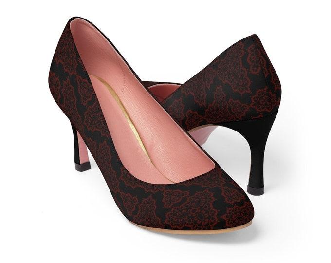 Women's High Heels Paisley Deep Red