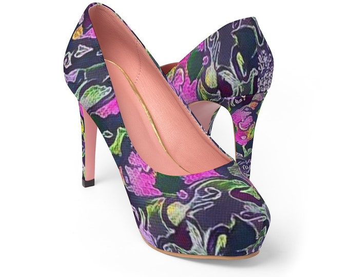 Women's Platform Heels Exotic Purple Garden