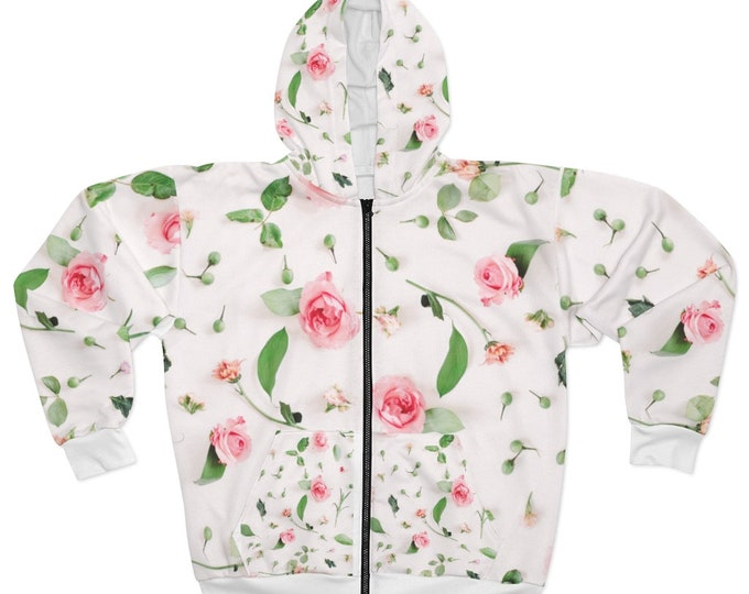AOP Unisex Zip Hoodie Soft Pink Rose Bud