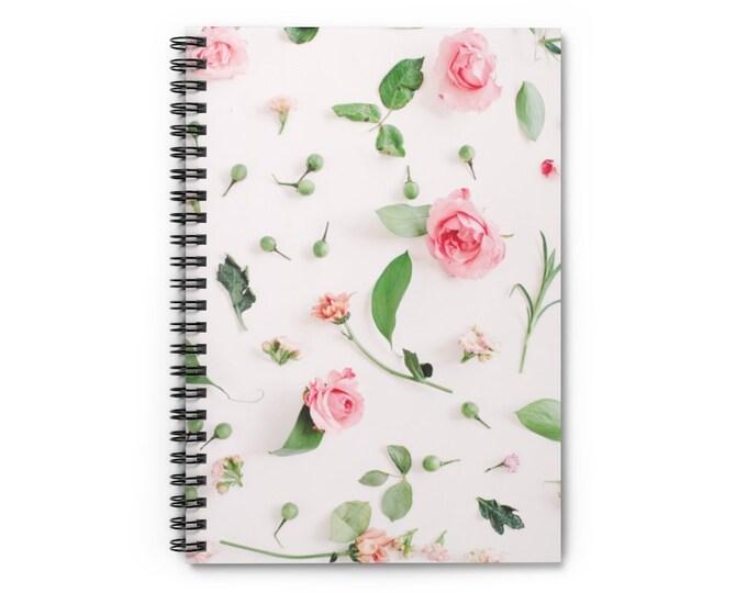 Spiral Notebook - Ruled Line Soft Pink Rosebuds