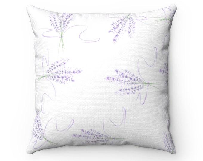 Spun Polyester Square Pillow  Lavender Lilac Dreams