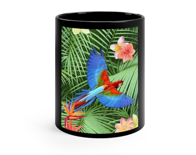 Black mug 11oz Bird Of Paradise