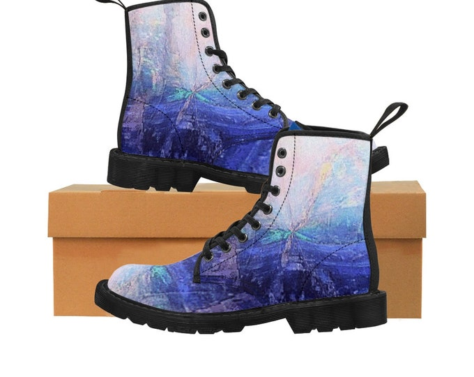 Women's Canvas Boots Blue and Pink Gradient